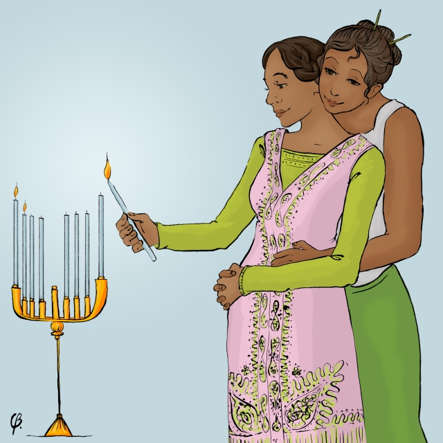 queer women celebrating Chanukah